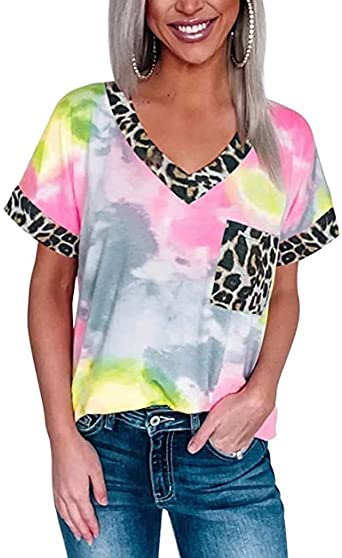2020 Women Shirts Teen Girls V Neck Leopard Short Sleeve Tie Dye Loose Tops, Vest Shirts Blouse for