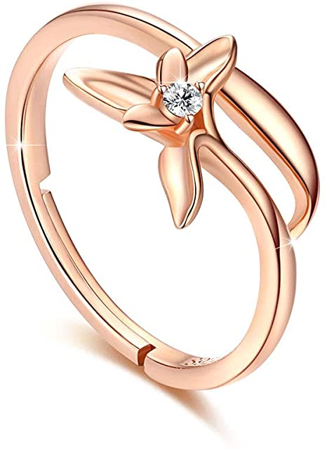 KINGWHYTE Women Rings Rose Gold Plated 925 Sterling Silver Rings Cubic Zirconia Band Orchid Flower D