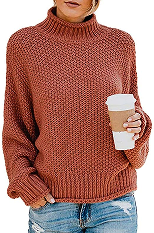 TECREW Womens Chunky Turtleneck Sweaters Batwing Sleeve Oversized Knitted Pullover Jumper