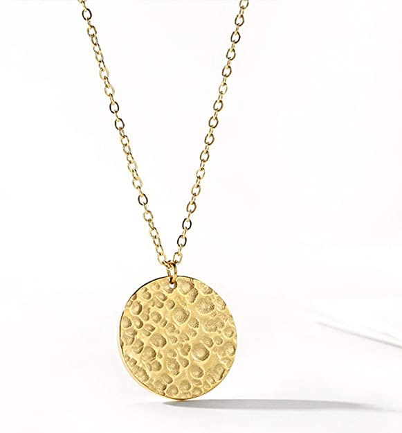 RoseMerry Hammered Coin Necklace 18K Gold Plated Dainty Disc Chokers Necklace for Women Disc Necklac