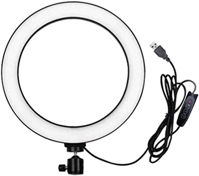 LED Ring Light with Tripod Stand for YouTube Video and Makeup, Mini LED Camera Light with Cell Phone