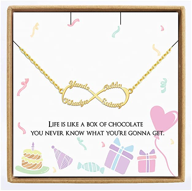 Jecivila Birthday Necklace Gift for Women, Personalized Infinity Charm Necklace Custom Nameplate Pen
