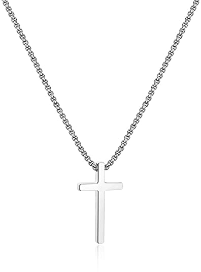 IEFSHINY Cross Necklace for Men, Stainless Steel Cross Pendant Necklaces for Men Pendant Chain 16-30