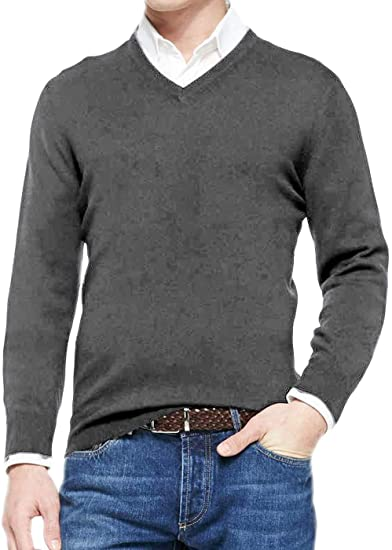 poriff Mens Sweater v Neck Soft 95% Cotton Casual Pullover Sweatshirt Basic