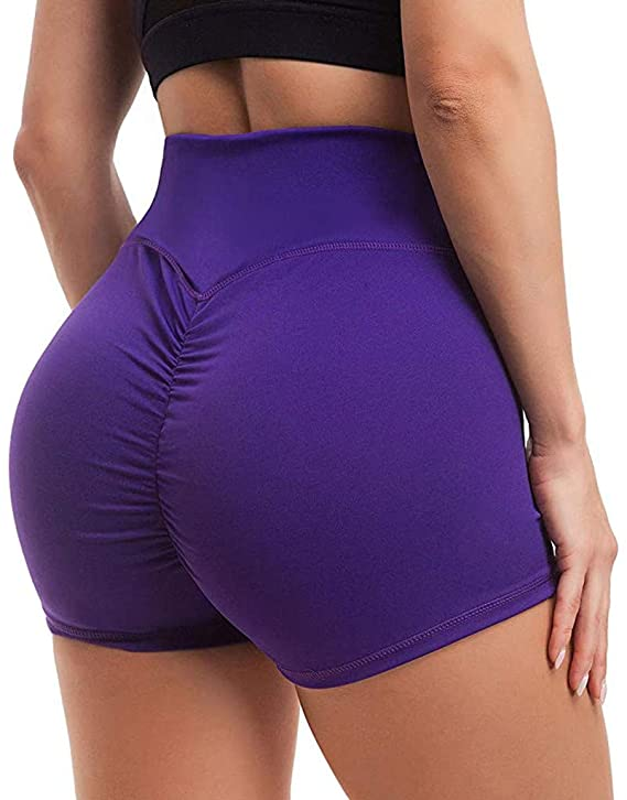 Tinani omen's High Waisted Stretchy Ruched Butt Lifting Workout Running Yoga Shorts