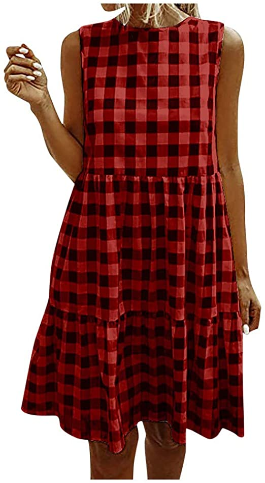 Women's Casual Plaid Sleeveless Ruffle Sundress Round Neck A-Line Pleated Mini Short T Shirt D