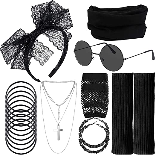 80s Fancy Dress Costume Accessories Set, Lace Headband Black Headband Earrings Fishnet Gloves Neckla