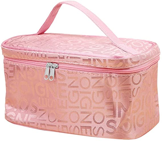 WQG 2020 HOT Letter Cosmetic Bag Fashion Square Travel Portable Storage Bag Wash Toiletry Makeup Bag