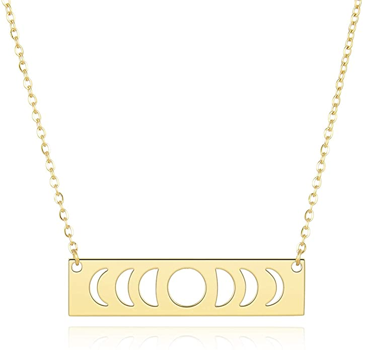 UNGENT THEM Moon Phase Necklace Gold Simple Bar Necklaces for Women Birthday Gifts for Her