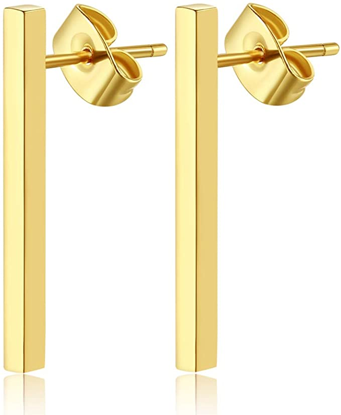 14K Gold Silver Dainty Mini Bar Stud Earrings Minimalist Gold Bar Earring for Women