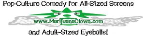Logo of the MarijuanaClown.com, seller of Marijuana-themed gear.