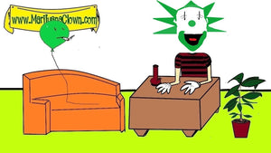 Screen grab of The Marijuana Clown Podcast featuring marijuana-themed surreal humor.