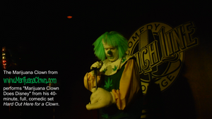 Marijuana Clown performs a just-off Detroit comedy show.