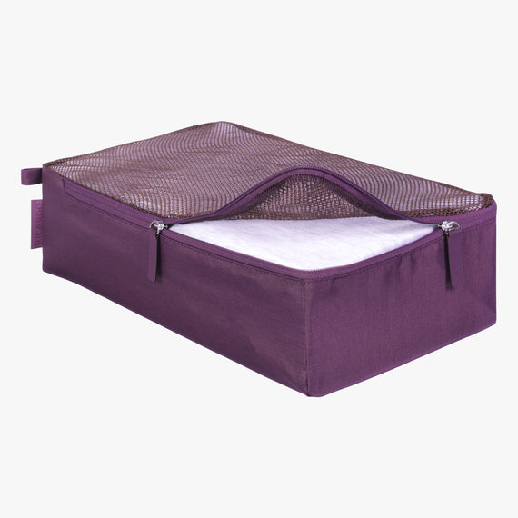 Packing Cubes - Set of Three Essentials Medium Packing Cube in Aubergine Open View in  in Color:Aubergine in  in Description:Opened