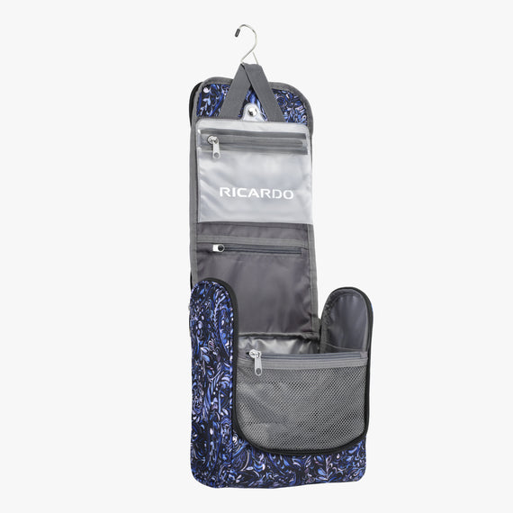 Toiletry Organizer Essentials 2.0 10-inch Hanging Organizer in Blue Twist Open View in  in Color:Blue Twist in  in Description:Opened