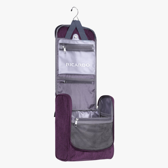 Toiletry Organizer Essentials 10 inch Organizer in Aubergine Open View in  in Color:Aubergine in  in Description:Opened