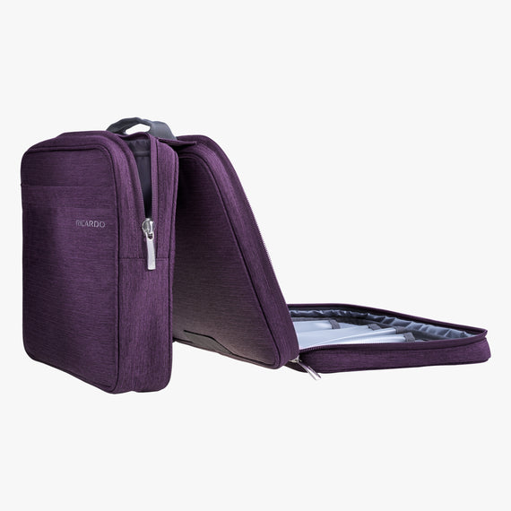 Deluxe Organizer Essentials 13-inch Organizer in Aubergine Quarterfront View in  in Color:Aubergine in  in Description:Open Detail