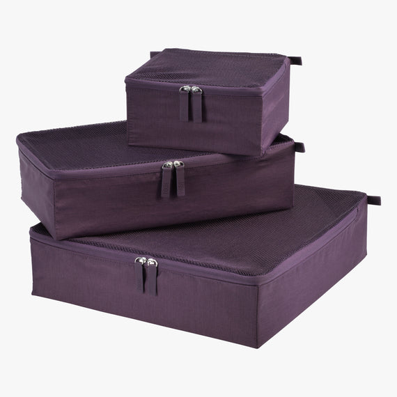 Packing Cubes - Set of Three Essentials 2.0 3-Piece Set in Aubergine Set View in  in Color:Aubergine in  in Description:Front