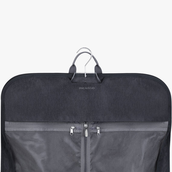 Garment Carrier Essentials 45 inch Garment Bag in Graphite Top Half View in  in Color:Graphite in  in Description:Hanger System