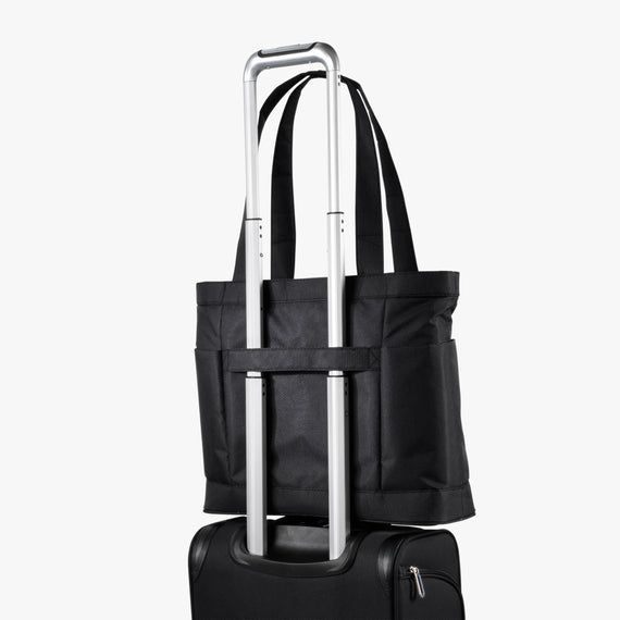Travel Tote Mirage 3.0 Travel Tote in Black Back Angle View in  in Color:Black in  in Description:Back Angle
