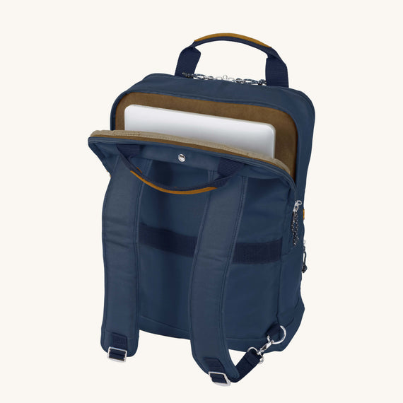 Travel Tech Backpack Whidbey 18-inch Backpack in Midnight Blue Secondary Open View in  in Color:Midnight Blue in  in Description:Laptop Pocket