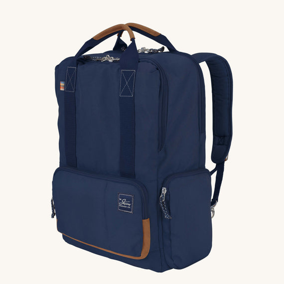 Travel Tech Backpack Whidbey 18-inch Backpack in Midnight Blue Quarter Front View in  in Color:Midnight Blue in  in Description:Angled View