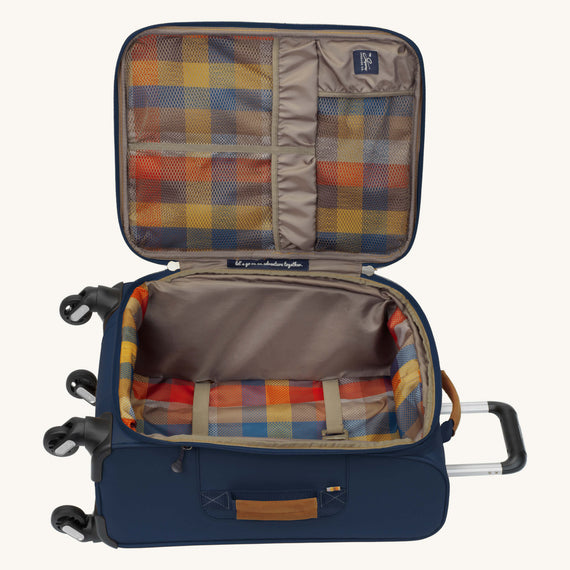 Carry-On Whidbey 20-inch Carry On in Midnight Blue Open View in  in Color:Midnight Blue in  in Description:Opened