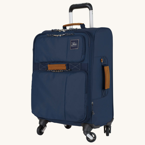 Carry-On Whidbey 20-inch Carry On in Midnight Blue Quarter Front View in  in Color:Midnight Blue in  in Description:Angled View