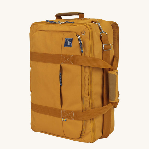 Convertible Four-Way Carry-On Whidbey 21-inch Backpack in Honey Secondary Quarter Front View in  in Color:Honey in  in Description:Angled View