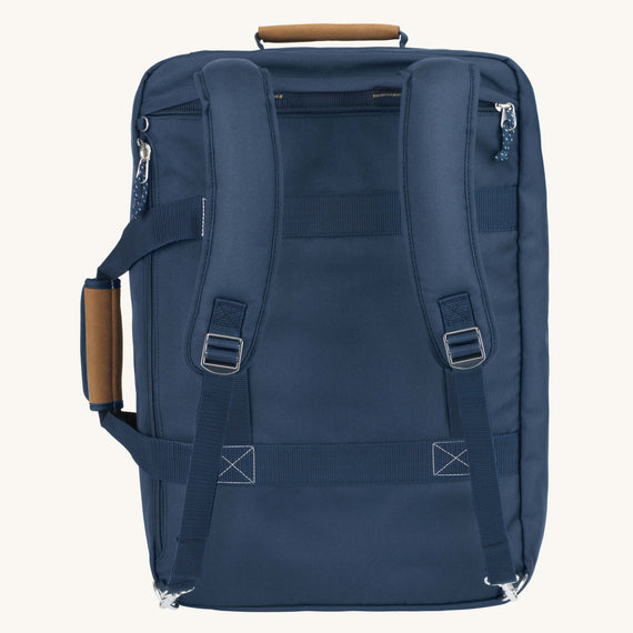 Convertible Four-Way Carry-On Whidbey 21-inch Backpack in Midnight Blue Back View in  in Color:Midnight Blue in  in Description:Back