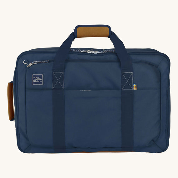 Convertible Four-Way Carry-On Whidbey 21-inch Backpack in Midnight Blue Front View in  in Color:Midnight Blue in  in Description:Front