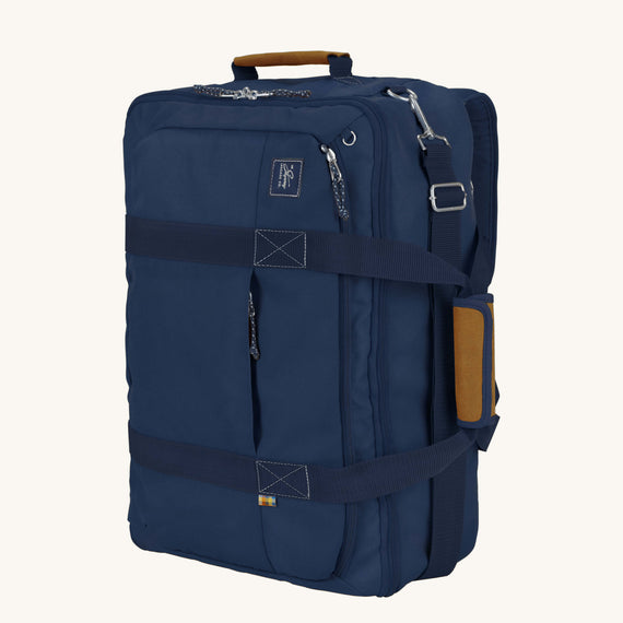 Convertible Four-Way Carry-On Whidbey 21-inch Backpack in Midnight Blue Secondary Quarter Front View in  in Color:Midnight Blue in  in Description:Angled View