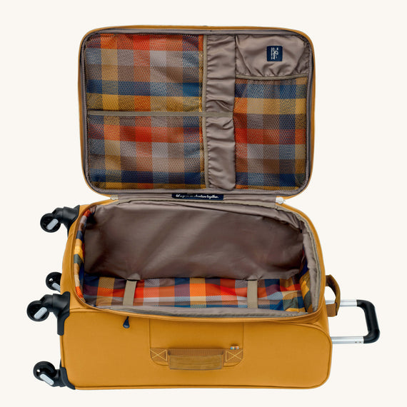 Medium Check-In Whidbey 24-inch Spinner Suitcase in Honey Open View in  in Color:Honey in  in Description:Opened