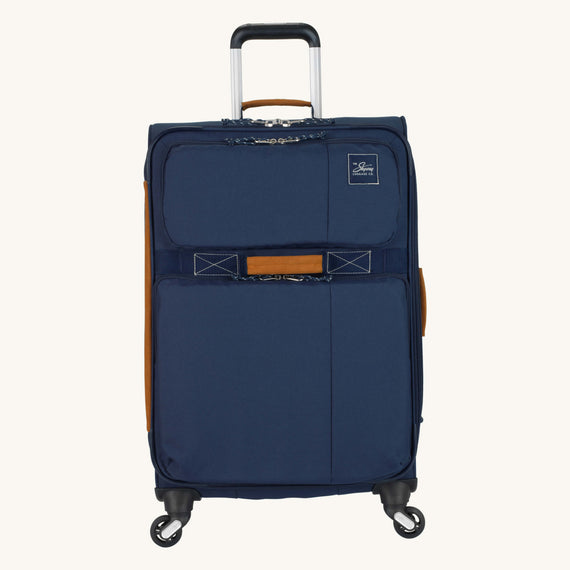 Medium Check-In Whidbey 24-inch Spinner Suitcase in Midnight Blue Front View in  in Color:Midnight Blue in  in Description:Front