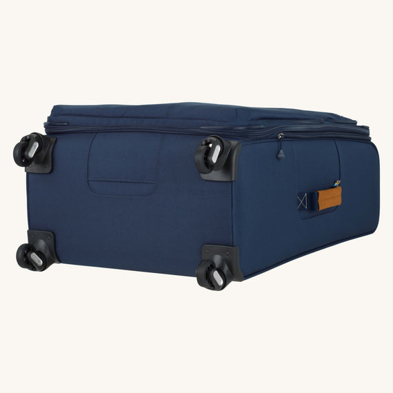 Large Check-In Whidbey 28-inch Spinner Suitcase in Midnight Blue Bottom View in  in Color:Midnight Blue in  in Description:Bottom