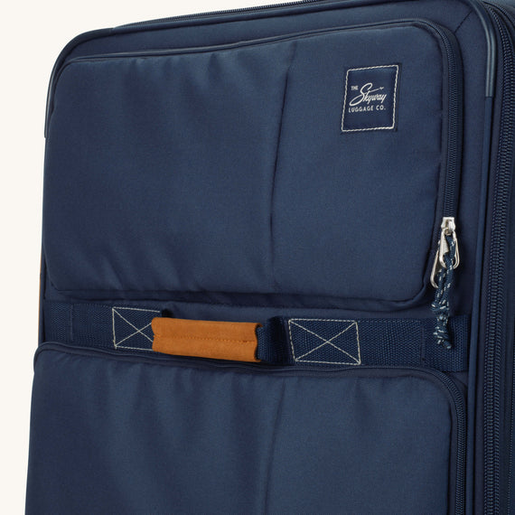 Large Check-In Whidbey 28-inch Spinner Suitcase in Midnight Blue Close Up View in  in Color:Midnight Blue in  in Description:Exterior Detail