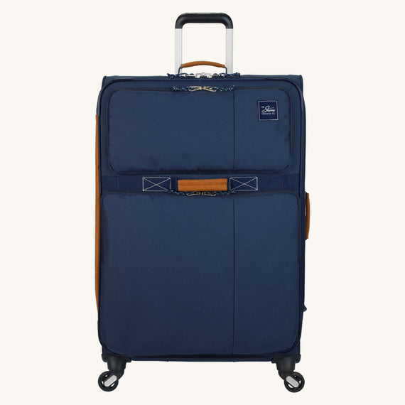 Large Check-In Whidbey 28-inch Spinner Suitcase in Midnight Blue Front View in  in Color:Midnight Blue in  in Description:Front