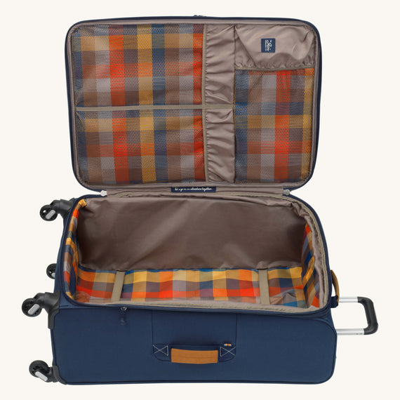 Large Check-In Whidbey 28-inch Spinner Suitcase in Midnight Blue Open View in  in Color:Midnight Blue in  in Description:Opened