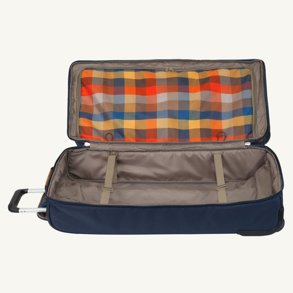 Large Rolling Duffel Whidbey 28-inch Rolling Duffel in Midnight Blue Alternate Open View in  in Color:Midnight Blue in  in Description:Bottom Compartment