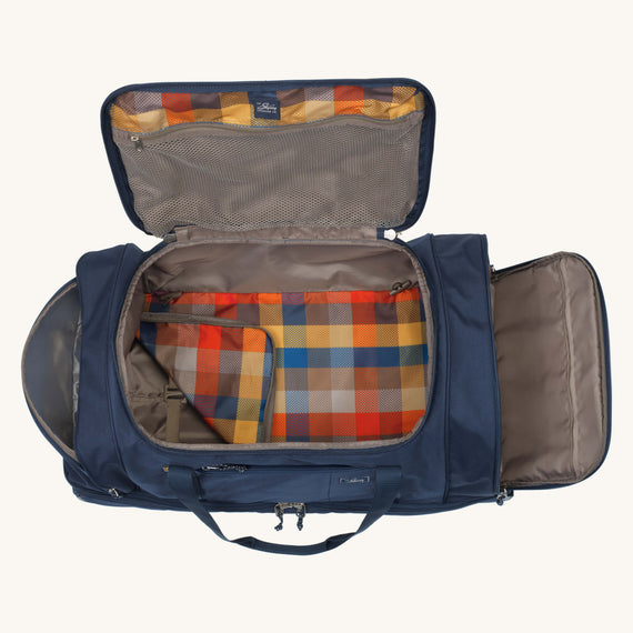 Large Rolling Duffel Whidbey 28-inch Rolling Duffel in Midnight Blue Open View in  in Color:Midnight Blue in  in Description:Opened