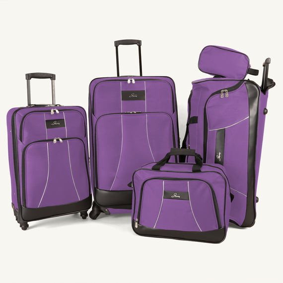 5-Piece Luggage Set Skyway Luggage Seville 5-Piece Luggage Set in Petunia Purple in  in Color:Petunia Purple in  in Description:Front