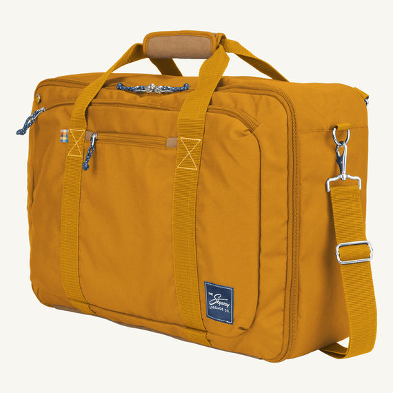 Convertible Four-Way Carry-On Coupeville 21-inch Backpack in Honey Quarter Front View in  in Color:Honey in  in Description:Angled View