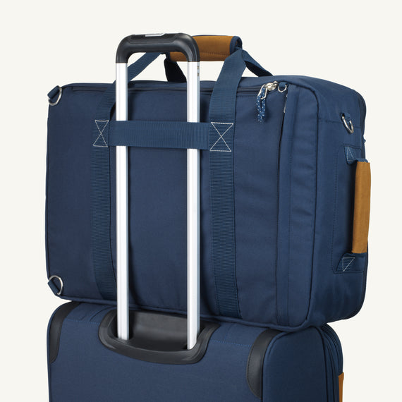 Convertible Four-Way Carry-On Coupeville 21-inch Backpack in Midnight Blue Bottom View in  in Color:Midnight Blue in  in Description:Backstrap