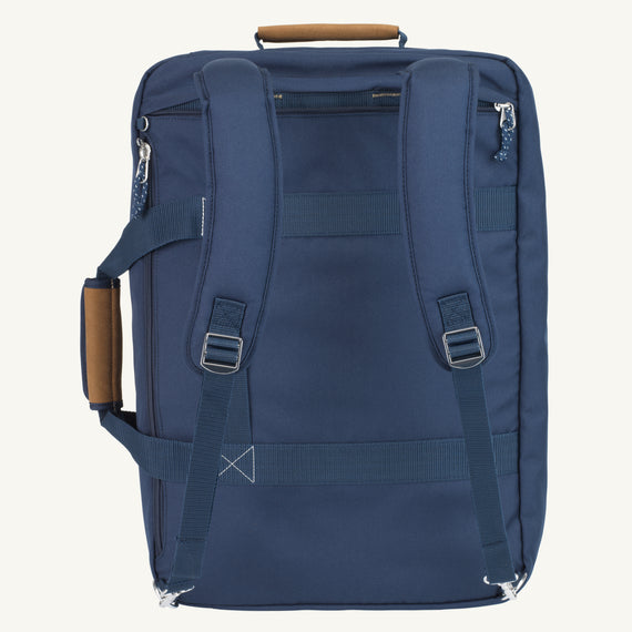 Convertible Four-Way Carry-On Coupeville 21-inch Backpack in Midnight Blue Back View in  in Color:Midnight Blue in  in Description:Back