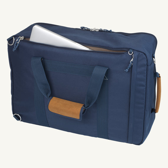 Convertible Four-Way Carry-On Coupeville 21-inch Backpack in Midnight Blue Close Up View in  in Color:Midnight Blue in  in Description:Laptop Pocket