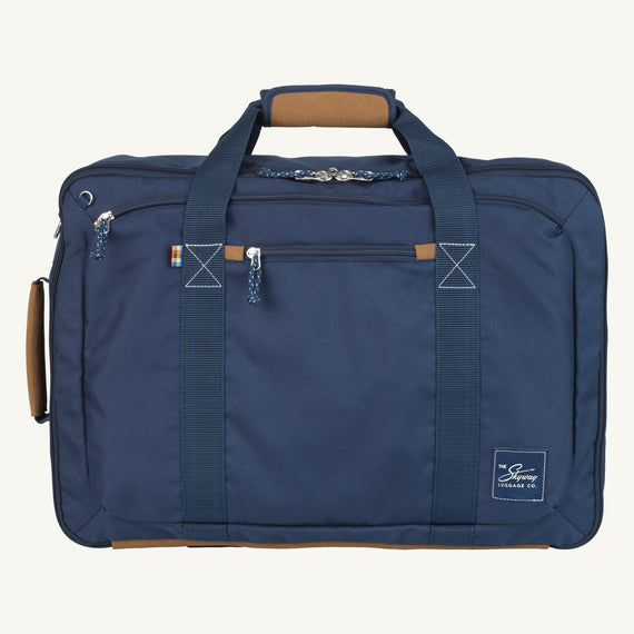 Convertible Four-Way Carry-On Coupeville 21-inch Backpack in Midnight Blue Front View in  in Color:Midnight Blue in  in Description:Front
