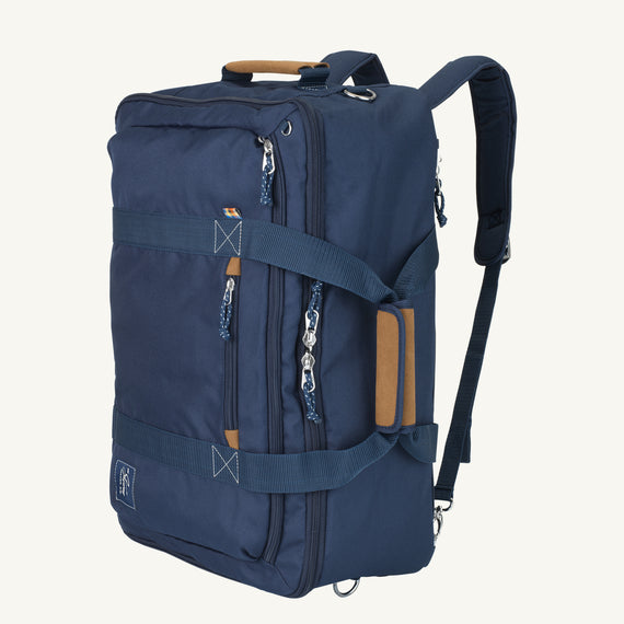 Convertible Four-Way Carry-On Coupeville 21-inch Backpack in Midnight Blue Secondary Quarter Front View in  in Color:Midnight Blue in  in Description:Angled View