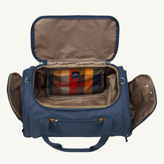 Weekender Duffel Coupeville 22-inch Duffel in Midnight Blue Open View in  in Color:Midnight Blue in  in Description:Opened
