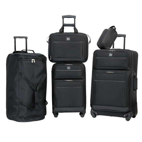 5-Piece Travel Set Skyway Luggage Seville 2.0  5-Piece Luggage Set in Black in  in Color:Black in  in Description:Front