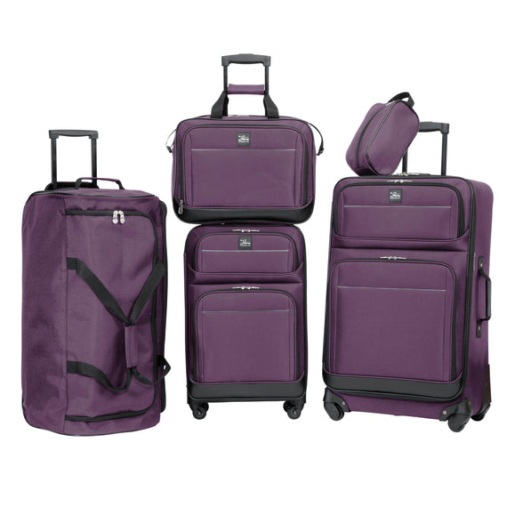 5-Piece Travel Set Skyway Luggage Seville 2.0  5-Piece Luggage Set in Purple in  in Color:Purple in  in Description:Front